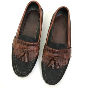 HS Trask Boat Shoes Black and Brown Leather 7